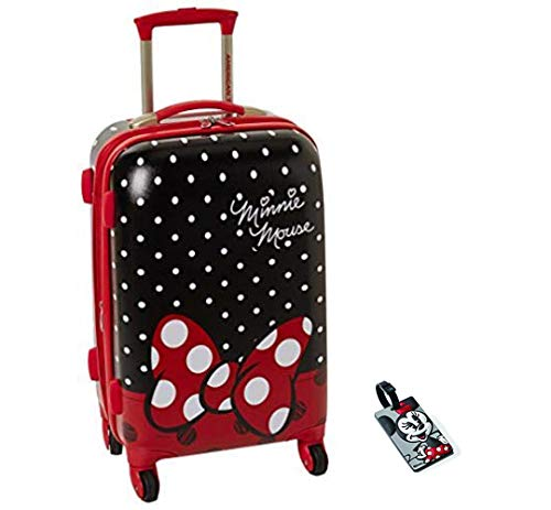 American Tourister Disney Minnie Mouse Red Bow Hardside Spinner 21 with Matching ID Tag
