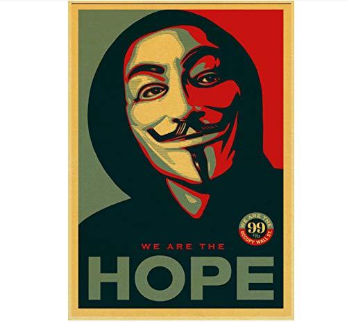Mengyun Store Película De Suspenso Estadounidense De Ciencia Ficción V para Vendetta Retro Póster Cuadro Lienzo Pintura Sin Marco Pintura Arte De La Pared Mural Hj386 (50X70Cm)