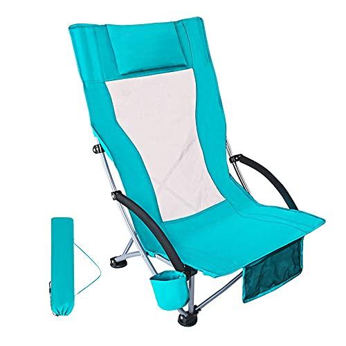XUDAN Silla Plegable para Acampar En La Playa Baja, Respaldo De Silla De Arena Silla Ultraligera para Mochileros con Portavasos Y Bolsa De Transporte Compacta Resistente Aire Libre
