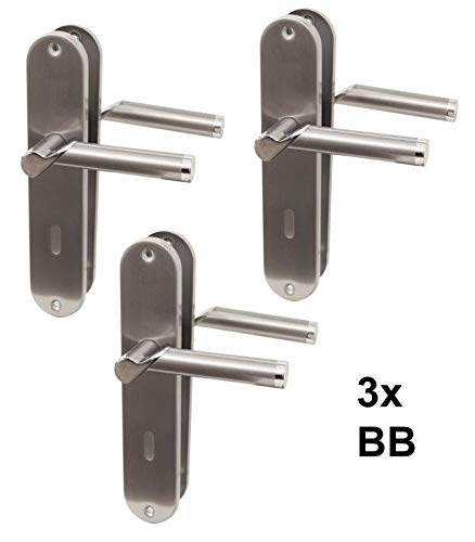 Türbeschlag 3er Set, Edelstahl Renovierungsgarnitur für Zimmertüren glanzlackiert, Türklinke Türgriff