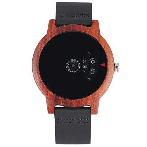 Chic Creative Turntable Display Wooden Watch for Men Women Quartz Genuine...