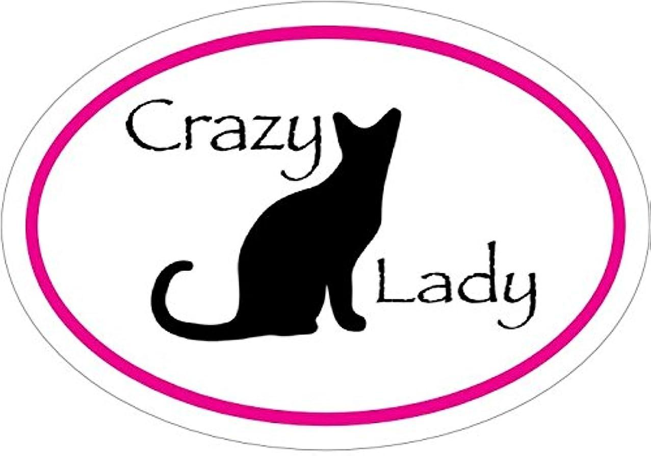 WickedGoodz Oval Vinyl Crazy Cat Lady Decal - Cat Bumper Sticker - Perfect Mom Gift