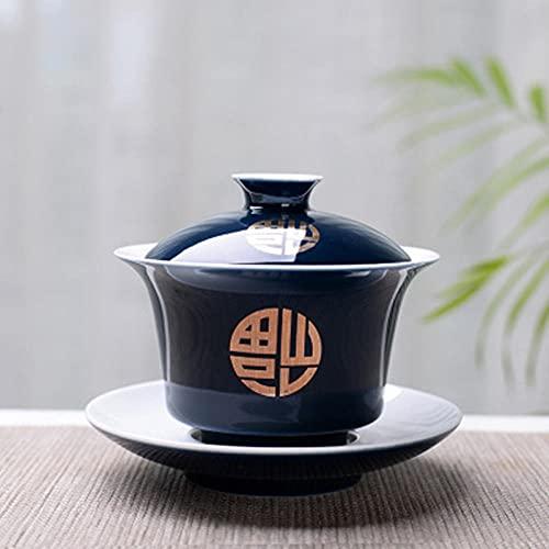 China Taza de té Tradicional, Conjunto de té de té de té de la cerámica Gaiwan Gaiwan, Taza de té de Kungfu de la Porcelana China y platillo con la Tapa-2_150 ml