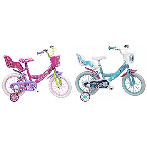 Disney Bicicleta con ruedines y Asiento para muñecas + Denver Bike Frozen Bicicleta (16%22, Vertical, Ciudad, Acero, Blanco/Rosa 40,6 cm (16%22)
