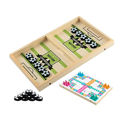 Schnelles Sling-Puck-Spiel Tempo, schnelles Sling-Puck-Brettspiel, doppelseitiges Holz-Hockey-Spiel Tisch Flying Chess, Fußball-Holz Multi Tabletop Rapid-Shot Portable Indoor Portable Brettspiele