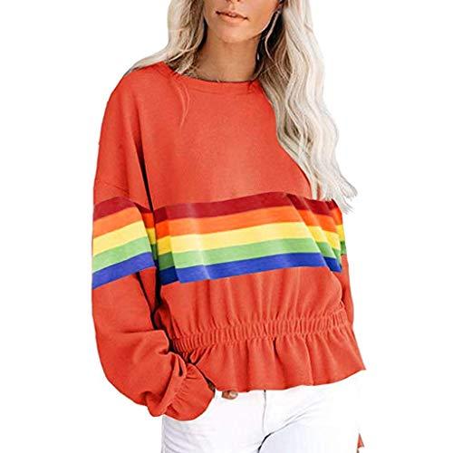ZHANSANFM Damen Sweatshirt Rainbow Kontrastfarbe Pullover Langarm Ruffled Sweater Frauen Rundhals...