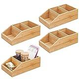 mDesign Juego de 4 cajas organizadoras grandes de madera de bambú – Organizador de cocina y despensa con 3 compartimentos y diseño abierto – Caja de madera ecológica para alimentos – color natural