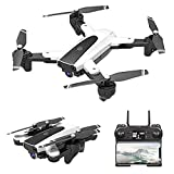 FPV RC Drone with 4K HD Camera, Foldable RC Quadcopter with Headless Mode, 3D Flips, Auto Hover and Trajectory Flight, Beginners and Adults,Black,White