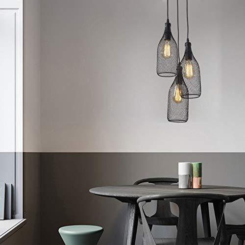 OYGROUP 3-Kopf Pendelleuchte mit E27 60W Schwarz Metallgitter Lampenschirm Innenleuchte für Kücheninsel Bauernhaus Foyer Tisch, schwarz