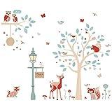 ufengke Pegatinas de Pared Animales del Bosque Vinilos Adhesivos Pared Árbol Ciervo Decorativos para Dormitorio Habitación Infantiles Bebés