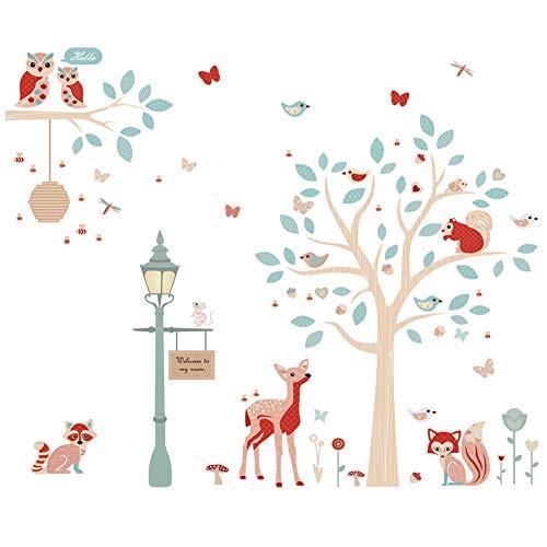 ufengke Wandtattoo Waldtiere Wandsticker Wandaufkleber Baum Hirsch für Kinderzimmer Babyzimmer