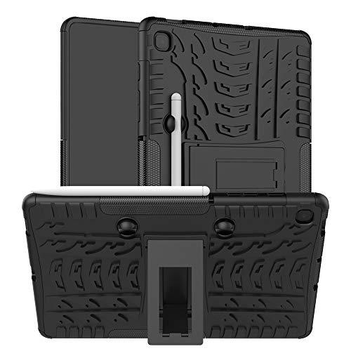 HongMan Funda para Samsung Tab S6 Lite 10.4 P610 / P615 (10,4 Pulgadas), Robusta Carcasa Híbrida TPU + PC de Doble Capa Anti-arañazos Caso con Soporte, Armor Duradero Protección Case Cover, Negro
