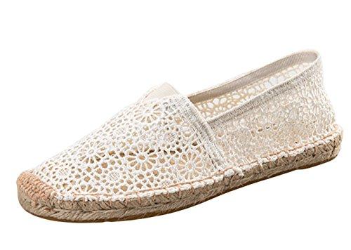 Insun Damen Espadrilles Sommer Atmungsaktiv Hollow Tuch Schuhe Slippers Freizeitschuhe Weiß 38 EU