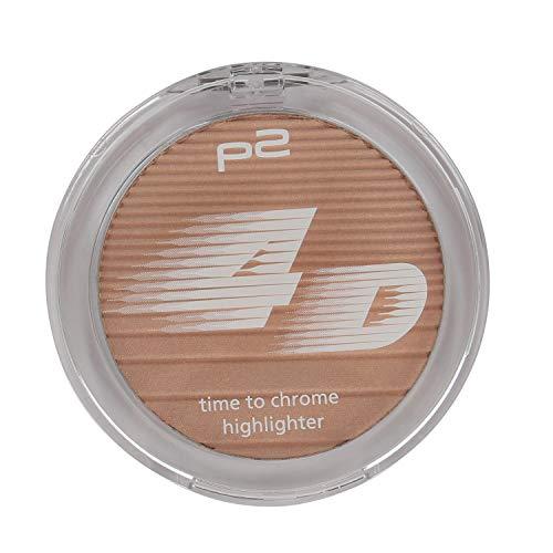 P2 4D time to chrome highlighter Nr. 010 beaming lightness Inhalt: 9g Puder Highlighter mit holografischen Pigmenten für ein optimales Finish. Highlighter