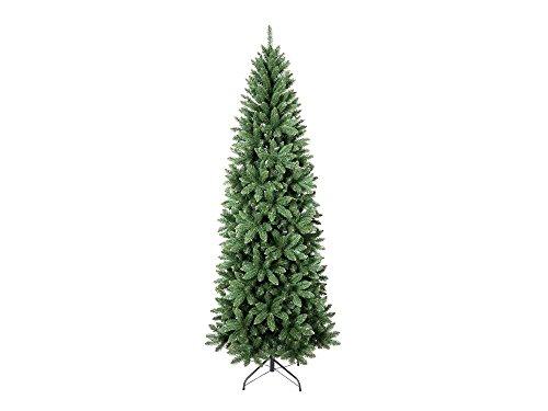 Albero di Natale Super Folto Slim Altezza 210 cm Multiramo Base a Croce in Metallo Apertura ad Ombrello 100% Ecologico Ignifugo