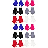Abaodam 12 pares de guantes de invierno para niños elásticos cálidos guantes coloridos guantes de punto de dedo completo para 7-11 años