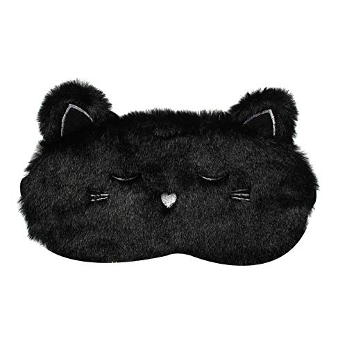 Cute Eye Mask for Sleeping,Cartoon Black Cat Super Soft and Lightweight Eye Cover Funny Eye Mask