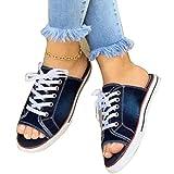 EVR Sandalias Mujer Verano 2020 Zapatos de Planas Zapatos de Boca de Pescado Playa Zapatillas Sandalias de Punta Abierta Fiesta Roman Sandalias Zapatos de Lona,Dark Blue,41