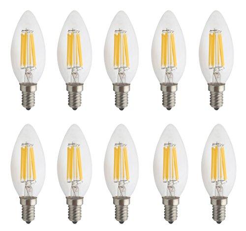 JCKing (Pack of 10) AC 110V-130V 6W E14 Dimmable LED Filament Bulbs Candle tip LED Light Bulb, LED Vintage Antique Chandelier Light Warm White 2700K