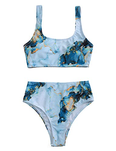 Romwe Damen-Bikini-Set, Batikdesign, U-Ausschnitt, 2-teilig, hohe Taille, Bikini-Set - Blau - Medium