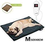 Pecute Pet Heat Pad Medium 40x50cm, 5 Adjustable Temperatures Safe Electric Heated Mat Waterproof with Removable Flannel Cover & Fire Retardant Cotton, Soft Cosy for large Cats Small Dogs