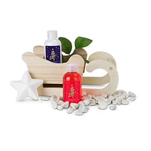 Römer Wellness Geschenkset Großer Winter-Schlitten, 4-teilig: Duschgel, Body Lotion + Seife in Sternenform auf einem Holzschlitten (zum anmalen geeignet); Duft: Vanille; Maße: ca. 21 x 10.5 x 14 cm