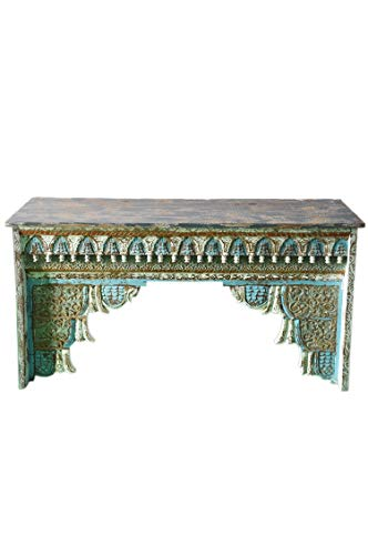 Oosterse console sideboard smal Inana 150 cm grijs blauw | Orient vintage consoletafel oosters handgesneden | Landhuis dressoir van massief hout | Aziatische decoratieve meubels uit India