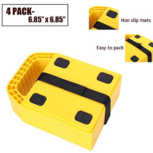 "Homeon Wheels RV Jack Pads Camper Chock Blocks Trailer Leveling Jack Stabilizer Help Prevent Jacks from Sinking, 6.85"" x 6.85"" (4 Pack)"