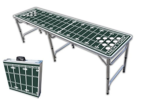 Best Bargain 8-Foot Professional Beer Pong Table w/Holes - New York 2 Football Field Graphic