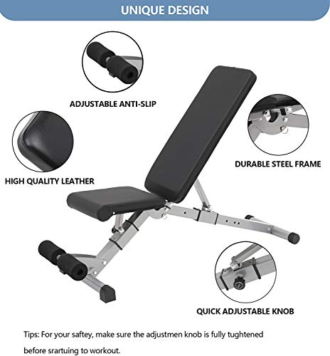 U/N Adjustable Foldable Weight Bench - Strength Training Benches for Full Body Workout Sit Up Bench, Decline/Incline/Flat for Home Gym, Strength Training, Weightlifting