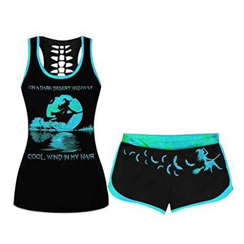 URIBAKY Damen Druck Kurzarm Tank Tops Shirts+Shorts Set Set Halloween Kordelzug Sportang Sportbekleidung