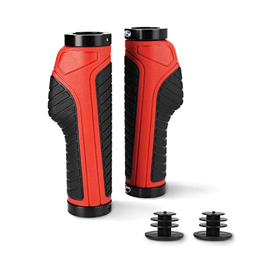 BFVV Ergonomic Bike Grips Dual Lock On with Bar Ends Adult Bicycle Handlebar Grips Rubber Handlebars Cover for MTB XC Racing FR Bike (Red)