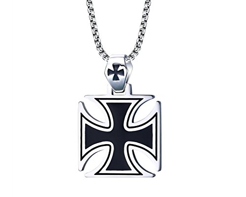 Mealguet Jewelry Men's Cool Stainless Steel Black Enamel Crusaders Templar Knights Cross Pendant Necklace, 24' Chain