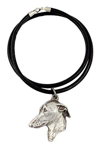 Galgo Italiano, Collar Colgante de Perro de Plata Chapado en un cordón de Cuero - Art Dog