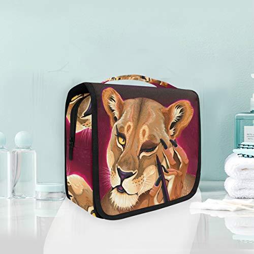 Maquillage cosmétique sac portable reine lion animal voyage sac de rangement sac de toilette pour femmes dame