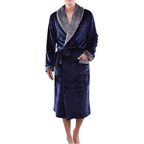 POachers Robe de Chambre en Polaire Peignoir Hiver Chaud Long Flanelle Peignoir de Bain Éponge pour Homme