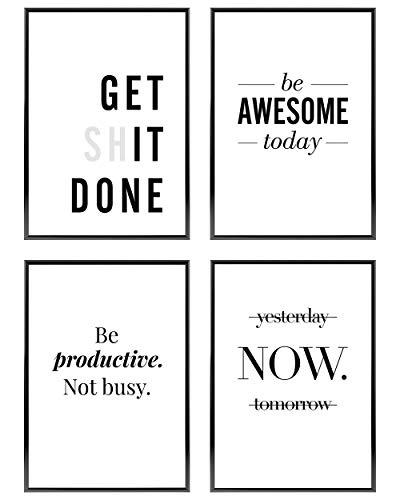Heimlich ® Premium Poster Set | Stilvolles Set mit passenden Bilder in Schwarz-Weiß | 4 Stück in DIN A4 (21x30cm) | Ohne Bilderrahmen » Motivation «
