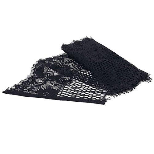 leorx Decoración de Flores Bordadas de Encaje Corte Ribete Corte Costura Bricolaje Arte (Negro)