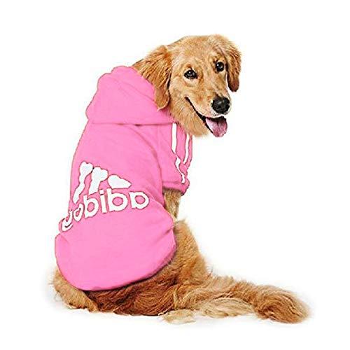 DULEE adidog Hund Warme Hoodies Mantel Jumpsuit Haustier Kleidung Jacke Pullover Baumwolle Pullover Outwear Pink 4XL