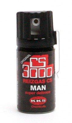 """CS-Gas Abwehrspray """"CS 3000"""" MAN mit Clip und Deckelklappe, 40 ml"""