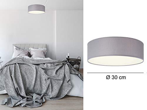 Smartwares Deckenleuchte mit LED, Stoff grau/Abdeckung satiniert, Ø 30 cm, Ceiling Dream