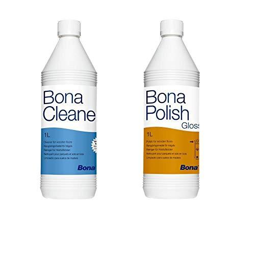 Bona Polish glänzend/Gloss 1 Liter Cleaner 1 Liter Parkettpflege-Set
