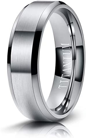 M MOOHAM Mens Wedding Bands Silver 6mm Titanium Rings Brushed Wedding Bands for Men Size 8 product image