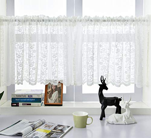 Cortina de encaje con dobladillo para barra de café, cortinas de nivel corto, tratamiento de media ventana para cocina, baño, cortina de ventana, 59 pulgadas de largo x 23.5 pulgadas de ancho