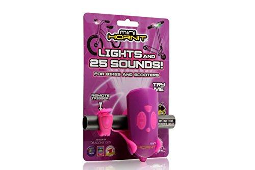 Hornit Mini Violet et Rose - Klaxon et lumière pour vélo et trotinette pour Enfants - 25 Effets sonores et 5 lumières