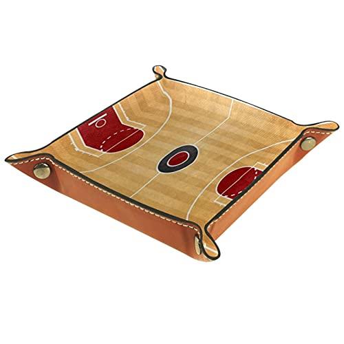 Organizador de canastas de cuero Tribunal de baloncesto vintage para la mesa de estar del escritorio del tocador