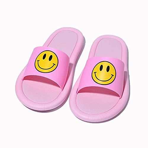 OUGEA Parent-niño Zapatillas Verano Smiley Room Sandalias caseras, Zapatillas para el hogar-Rosa_36-37