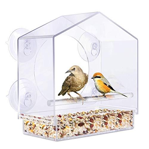 Vogelnest Vogelhäuschen,Acryl-Fenster mit starkem Saugnapf Birdhouse Feed Bird Pet Feeder Clear,Anlässe: Fenster, Wohnzimmer, Zimmer, Bar, Supermarkt Tür