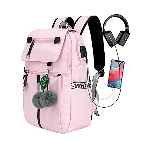 COLOCLOUD mochila para mujer, mochila escolar para niña adolescente, mochila impermeable, mochila para portátil, mochila escolar, mochila tipo cartera con conexión de carga USB (rosa)