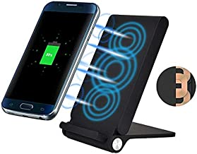 Folding Wireless Charger 10W Fast Charging Pad Stand Adapter [3-Coils] [Black] for iPhone XR - iPhone Xs - iPhone Xs Max - BLU Vivo XI+ - LG G7 ThinQ